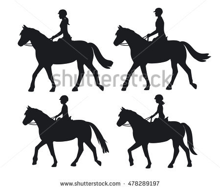 Set Cowboy Horse Silhouettes Western Riding Stock Vector 361291082.