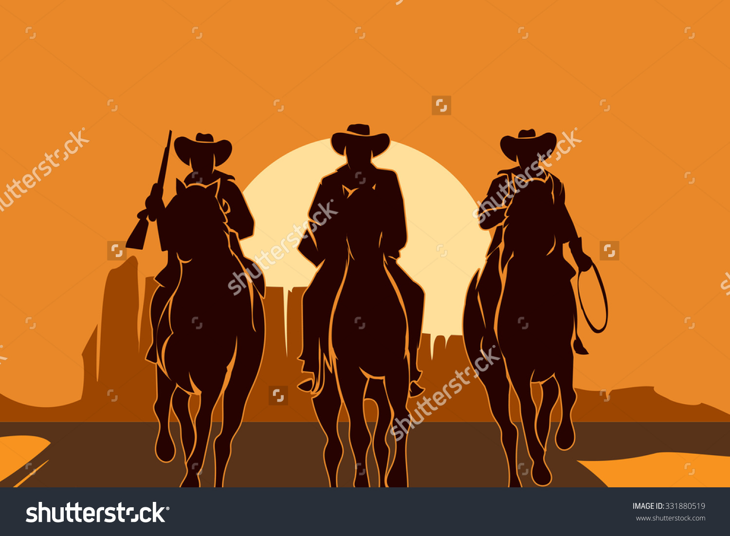 Cowboys Riding Horses Desert Freedom Man Stock Vector 331880519.