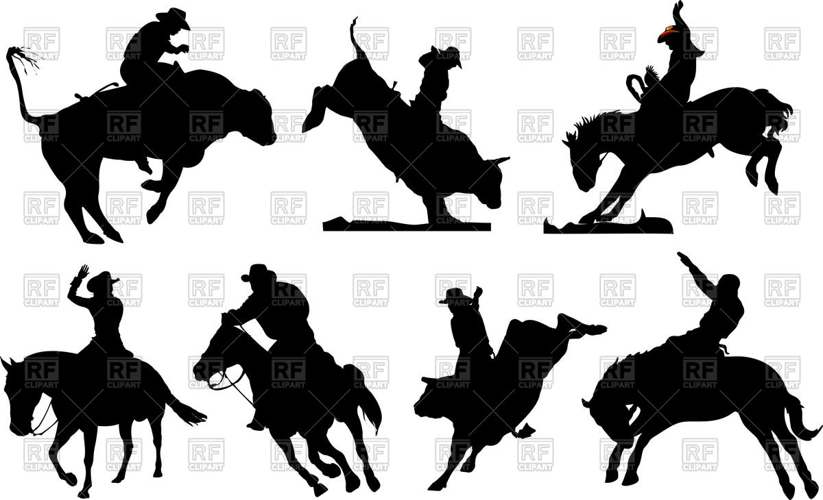 Rodeo silhouettes Vector Image #55507.