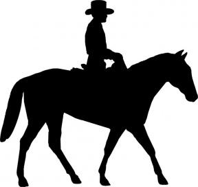 Cowboy Riding Horse Clipart Silhouette.