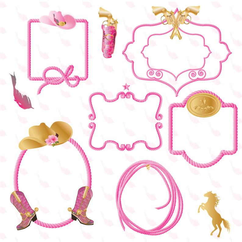 Western Cowgirl Rope Border clipart Graphics High Resolution Graphic  Digital Clip Art Scrapbooking.