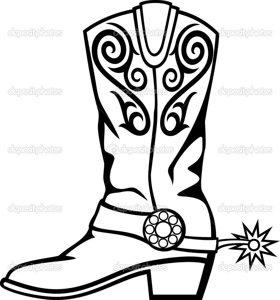 Pics For > Cowboy Boots With Spurs Clipart.