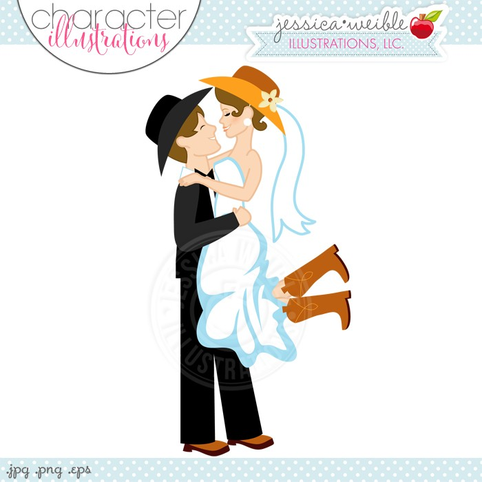 Western Wedding Couple Digital Clipart.