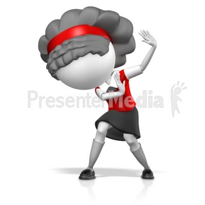 This clip art image shows a girl figure with hands up.