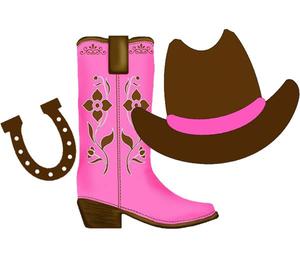 Pink Cowboy Boot Clipart.