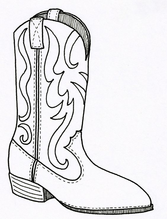 Cowboy boot pattern. Use the printable outline for crafts.