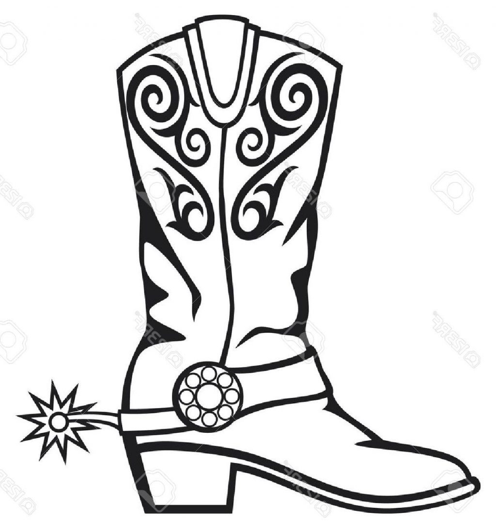 Cowboy Boot Line Drawing at GetDrawings.com.