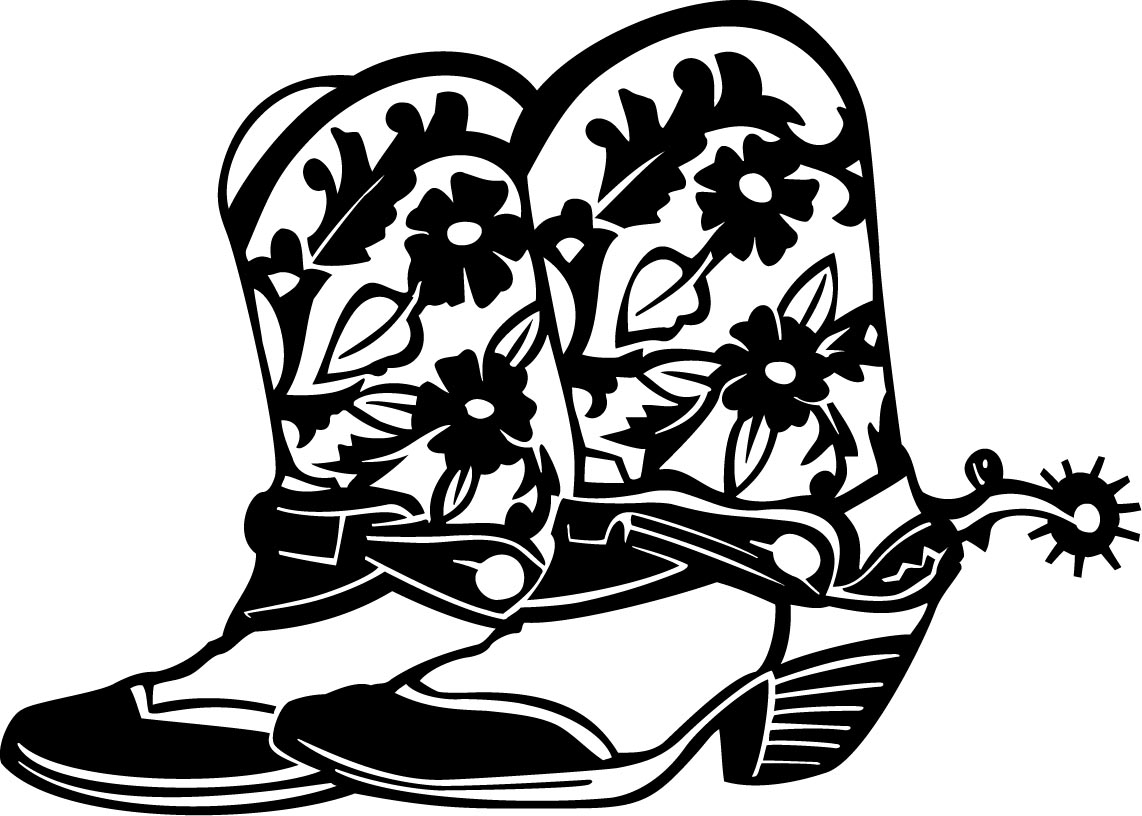 Free Cowboy Boots Clipart Black And White, Download Free.