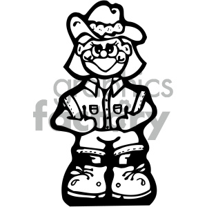 black and white cowgirl vector art clipart. Royalty.