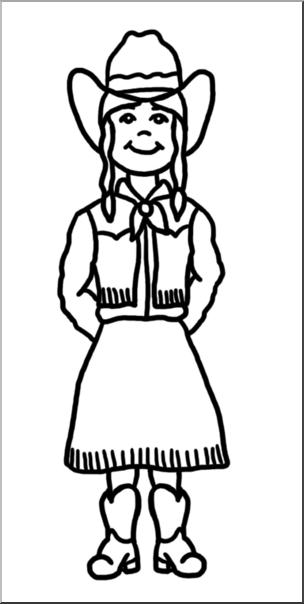 Clip Art: Western Theme: Cowgirl 1 B&W I abcteach.com.