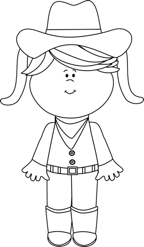 Black and White Cowgirl with Pigtails.