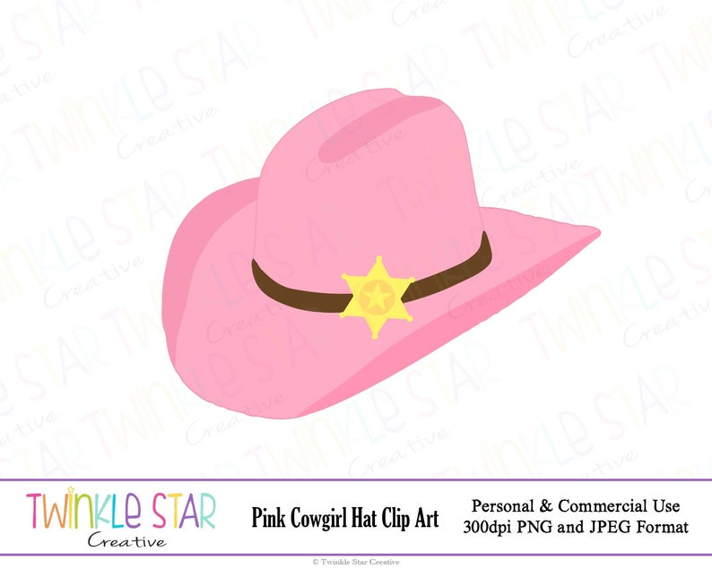 INSTANT DOWNLOAD, Pink Cowgirl Hat Digital Clipart, Cowboy Party, Western,  Graphic, (Single Clip Art Image) PNG, Personal & Commercial Use.