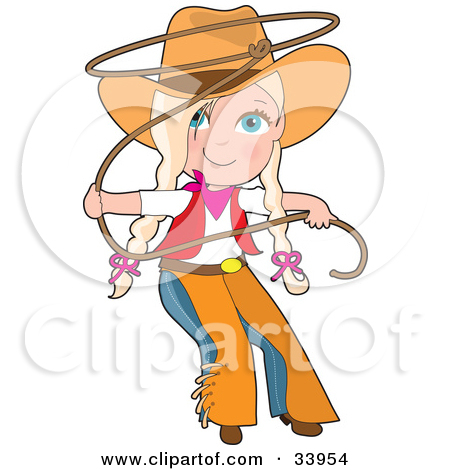 Clipart Illustration of a Sexy Blond Cowgirl Pinup Holding A Lasso.