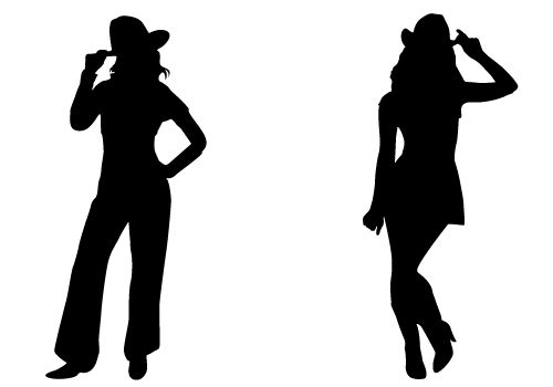 Cowgirl Silhouette Vector Free Download Two Beautiful Cowgirls.