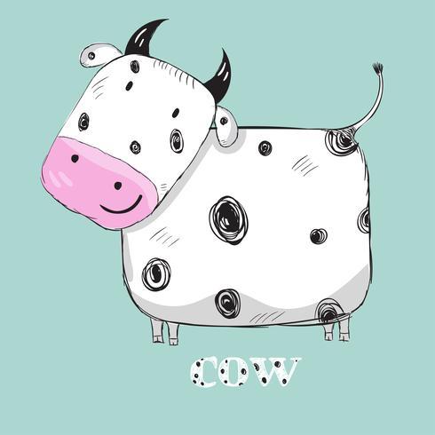 Cute cow hand drawn.
