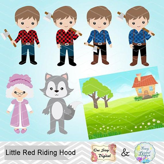 Little Red Riding Hood Digital Clip Art, Little Red Riding.