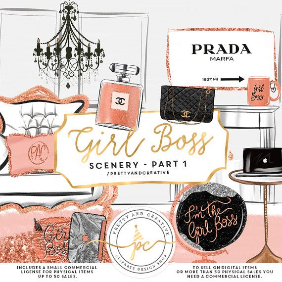 Girl Boss Scenery Clip Art,Fashion Clipart, Planner Girl.