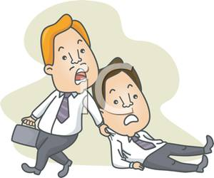 Worker Dragging a Co Worker To the Office.