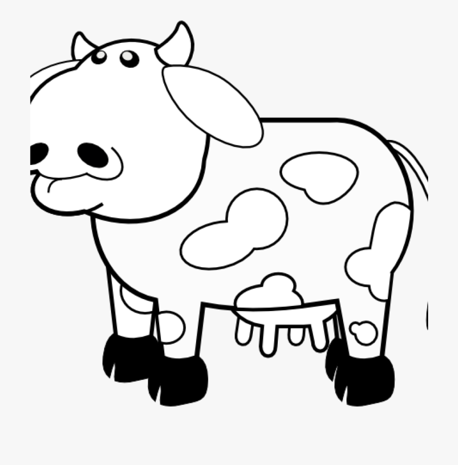 Cow Clipart Black And White Clipart Hatenylo.