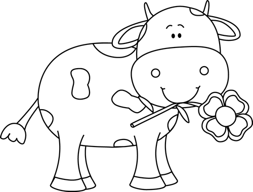 Black and White Cow with a Flower in its Mouth Clip Art.