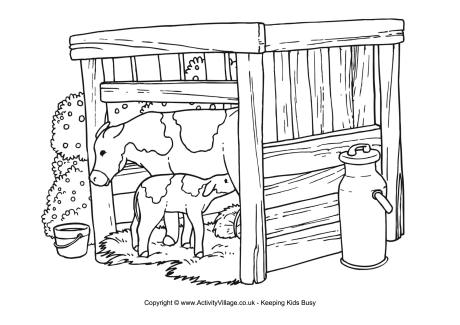 Cow and shed clipart.