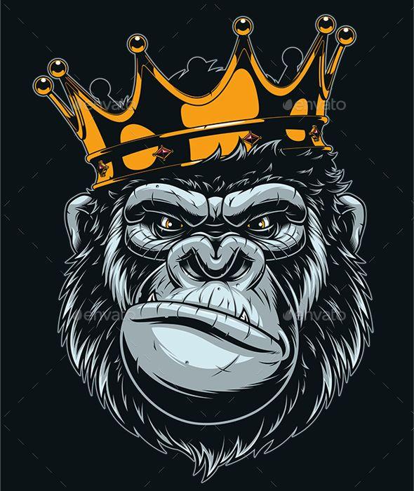 Ferocious Gorilla Head Vector illustration.