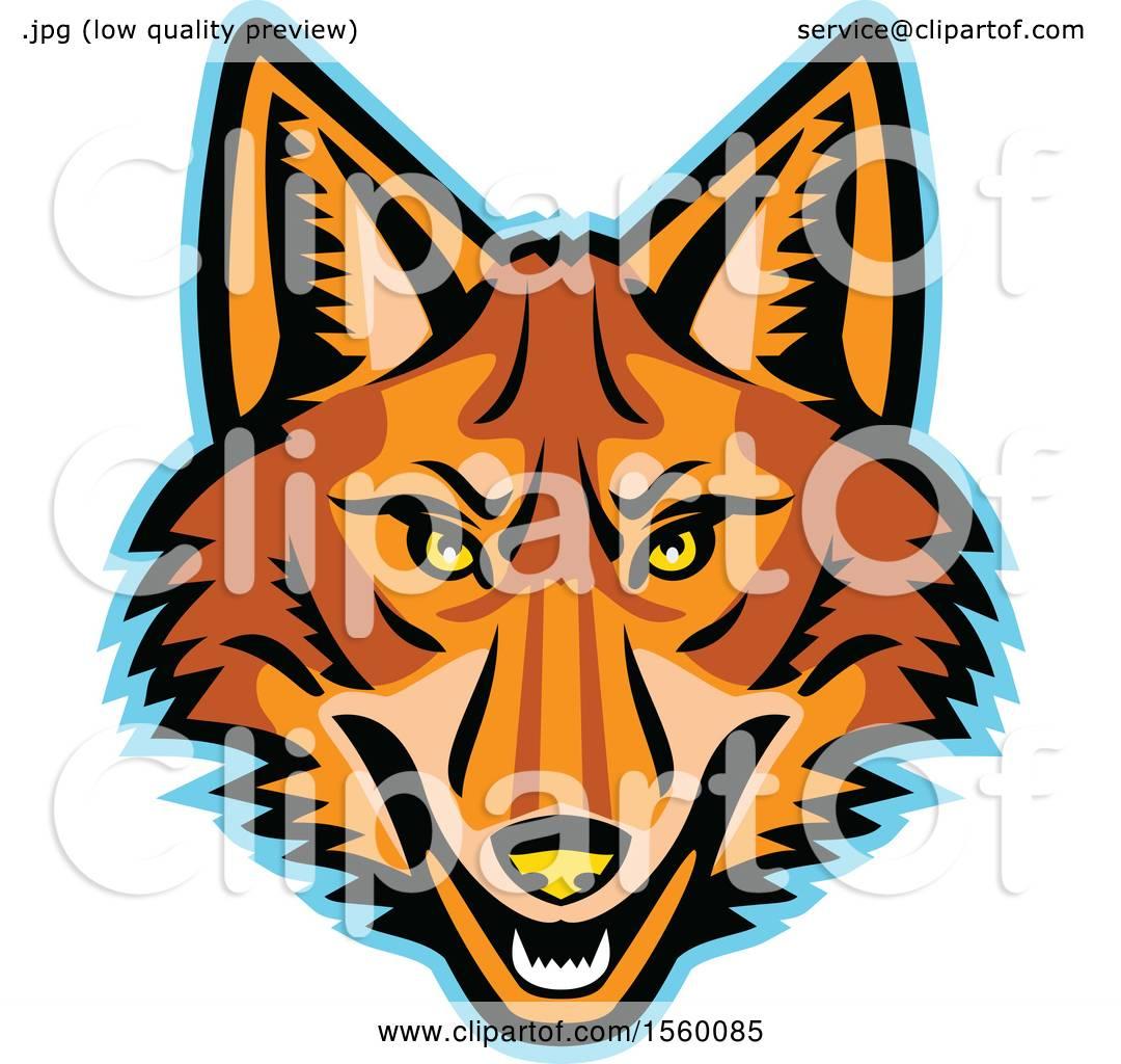 Clipart of a Retro Coyote Mascot.