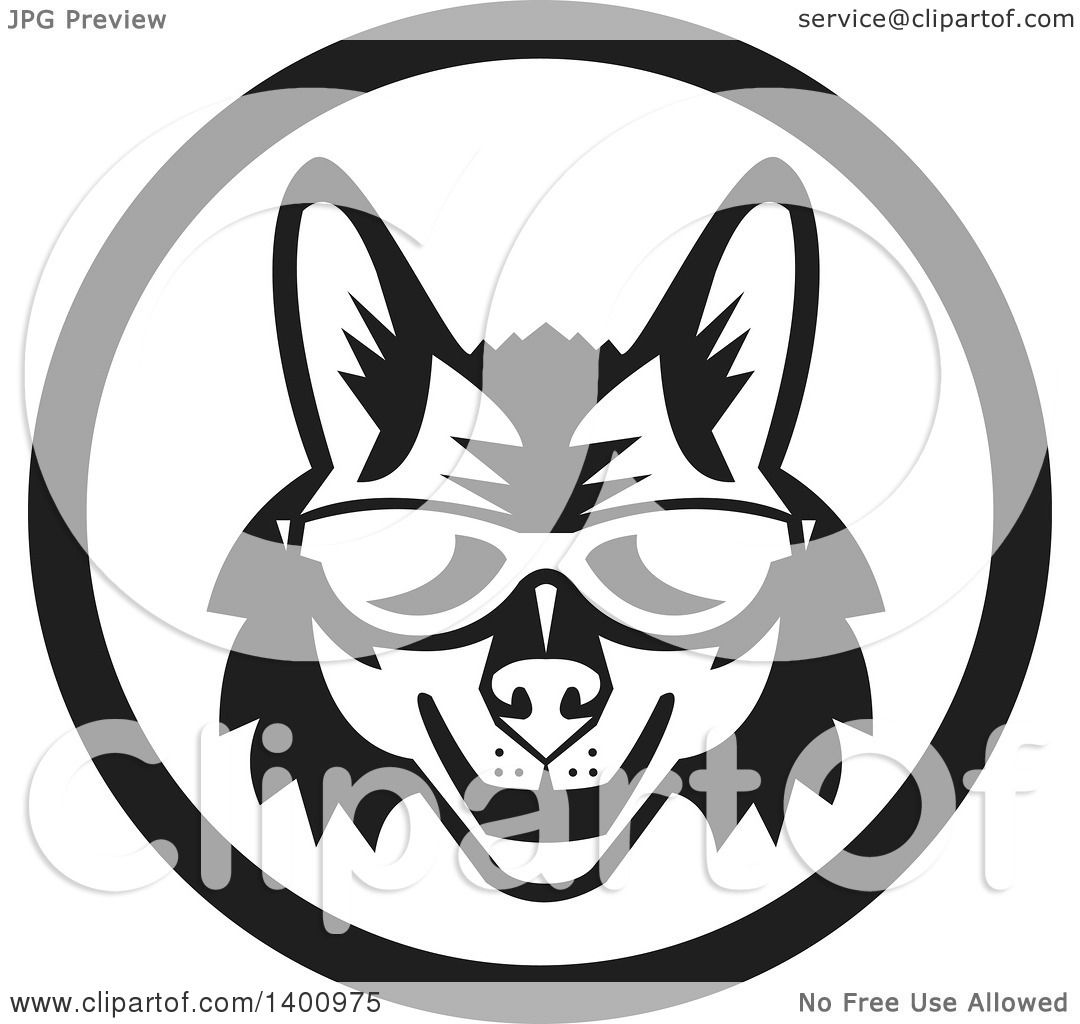 Clipart of a Retro Black and White Coyote Face Wearing Sunglasses in.