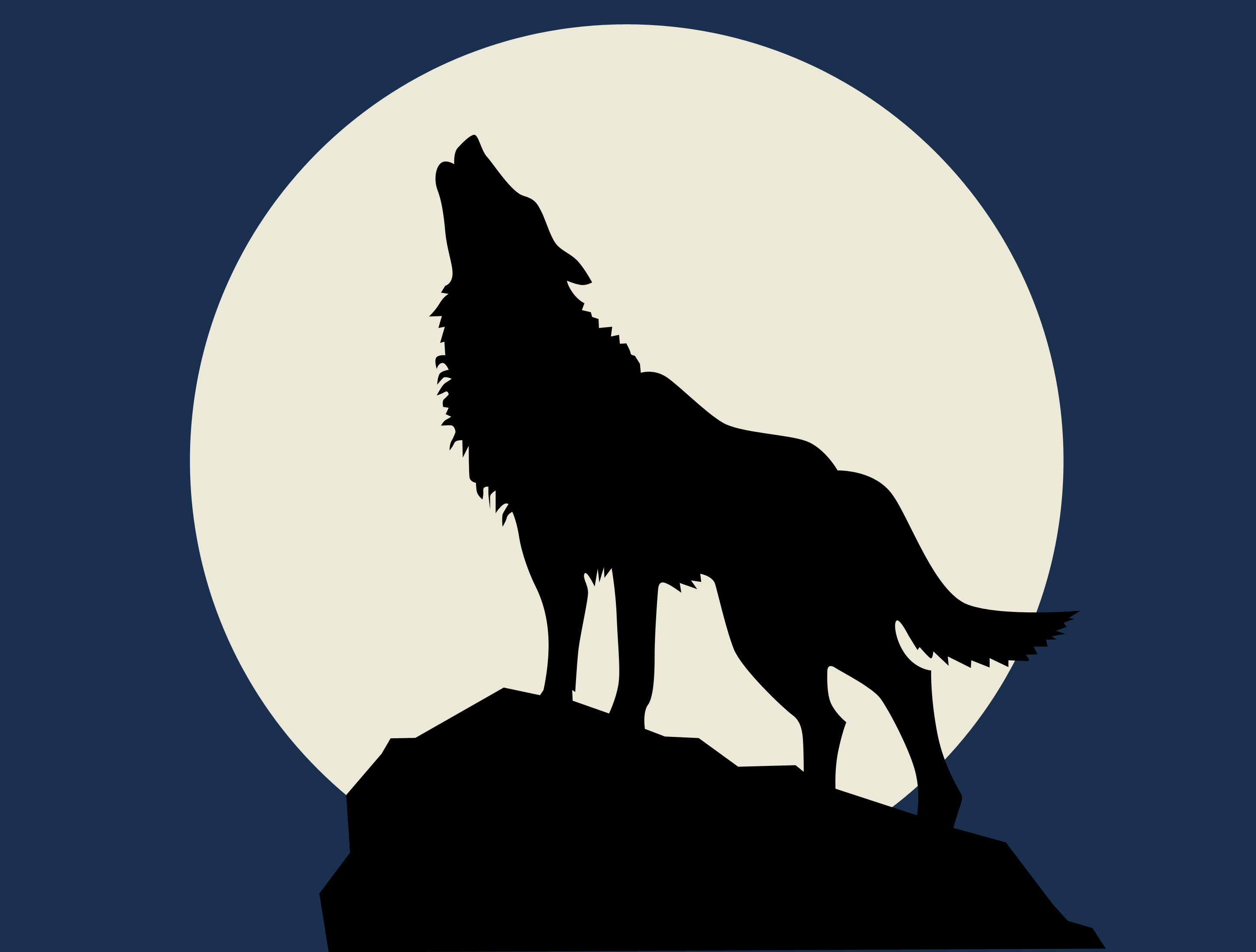 Silhouette Of Wolf Howling At Moon.