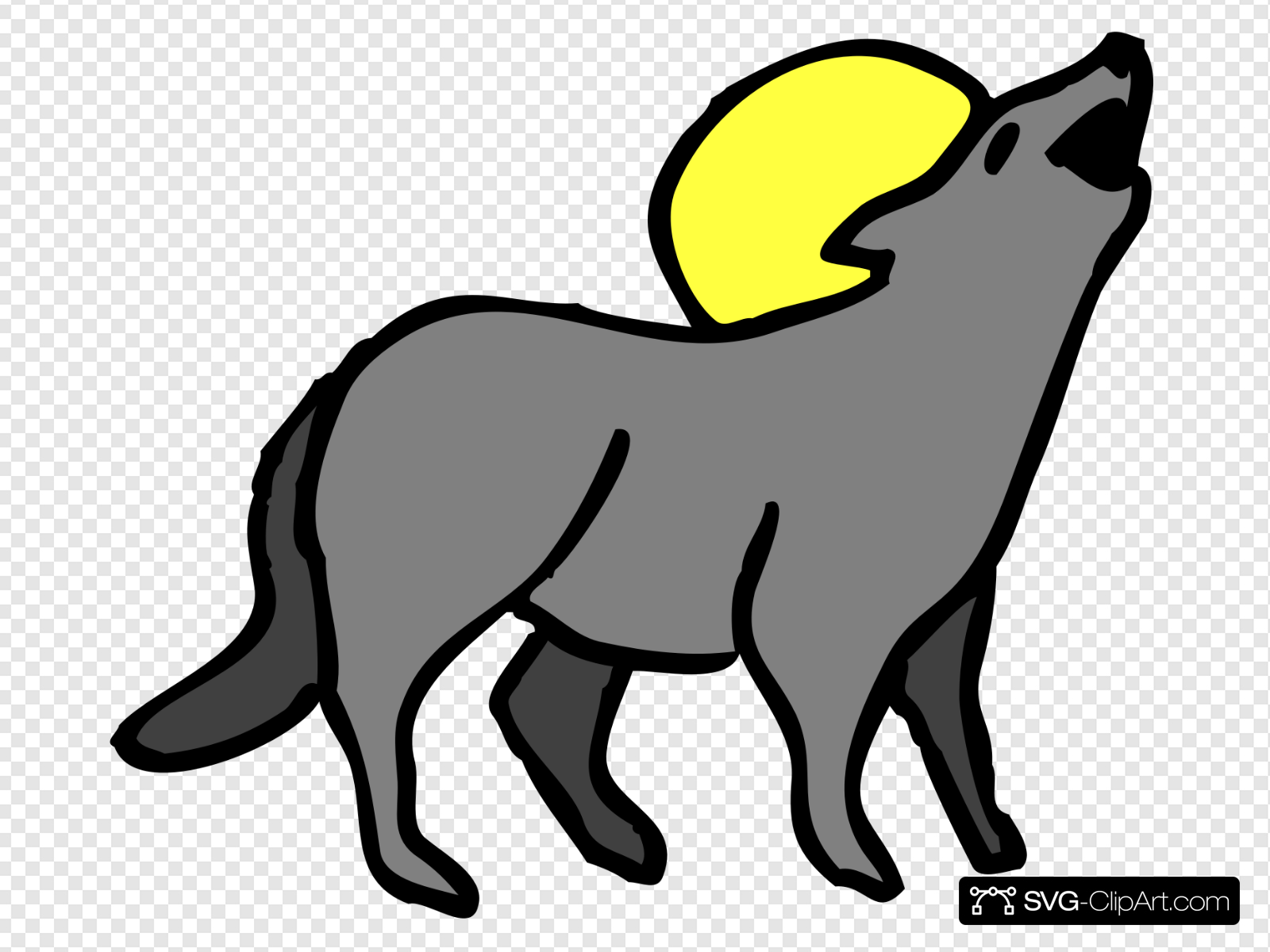 Howling Coyote Clip art, Icon and SVG.
