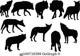 Black Coyote Clip Art.