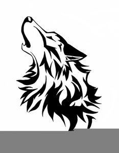 Silhouette Howling Coyote Clipart.