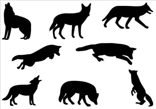 Coyote silhouette clip art Pack.