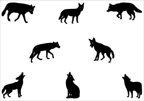 Coyote Silhouette Vector Clip Art.