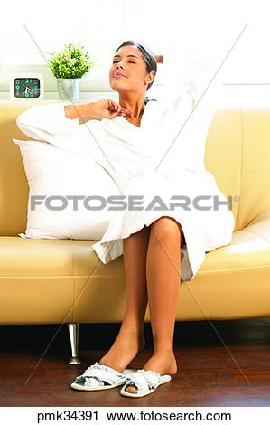 Stock Photography of woman, female, gown, bath gown, comfort.