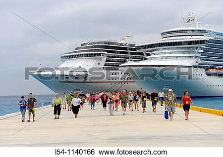 Stock Images of Passengers disembarking Caribbean Cruise Ship in.