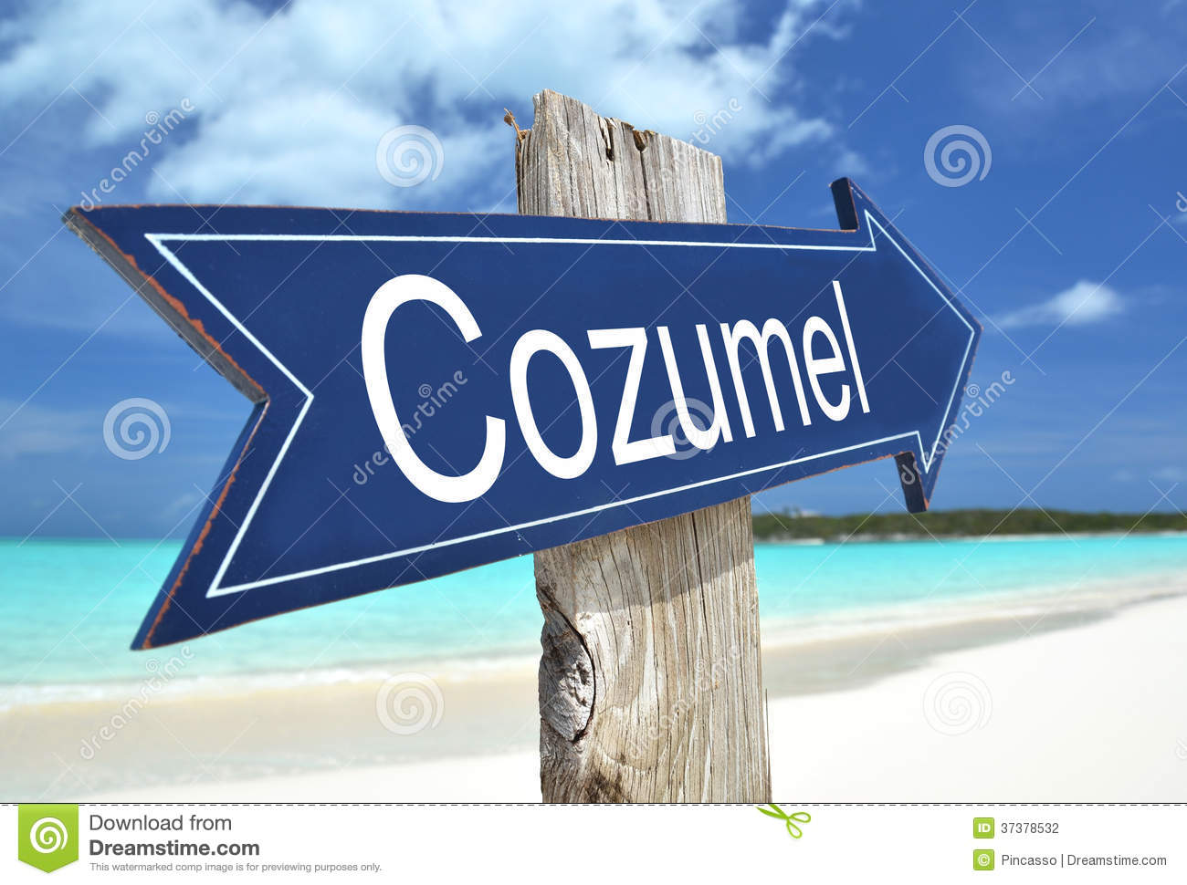 Cozumel Sign Stock Photography.