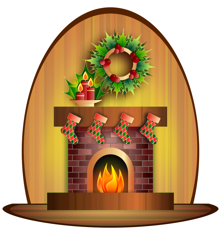 Cozy Fireplace Clipart.