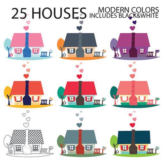 House Digital Clipart, INSTANT DOWNLOAD, digital graphics cute.
