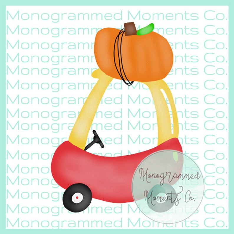 Watercolor Cozy Coupe Clipart Fall Pumpkins Watercolor Halloween PNG  Digital Download Printable Artwork Design Toddler Boys and Girls Outfit.