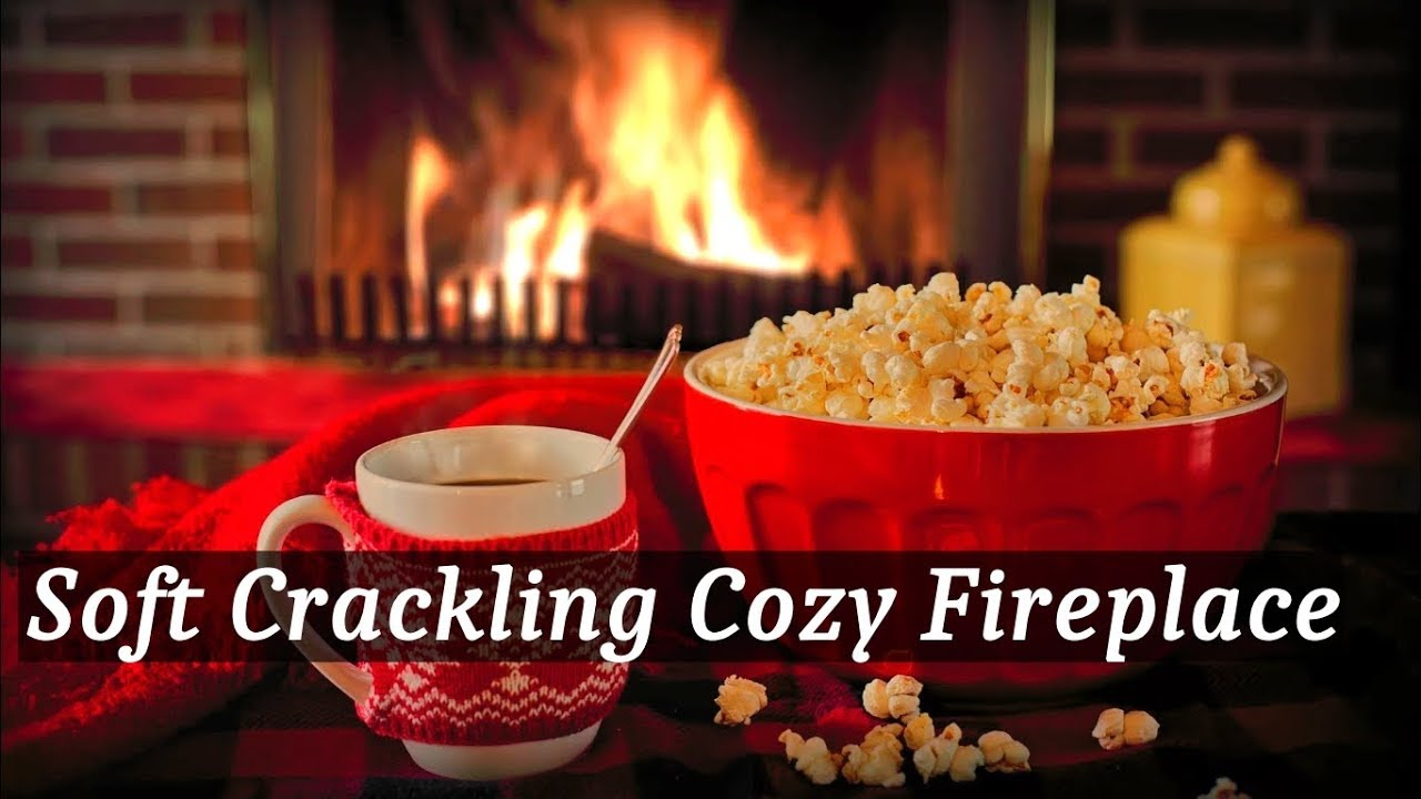 Cozy Fireplace with Soft Crackling Fire Sounds, Steaming Coffee and Popcorn.