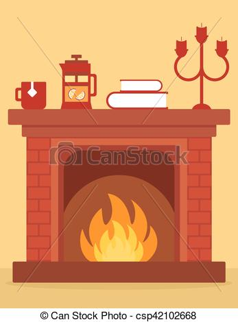 cozy fireplace on room.