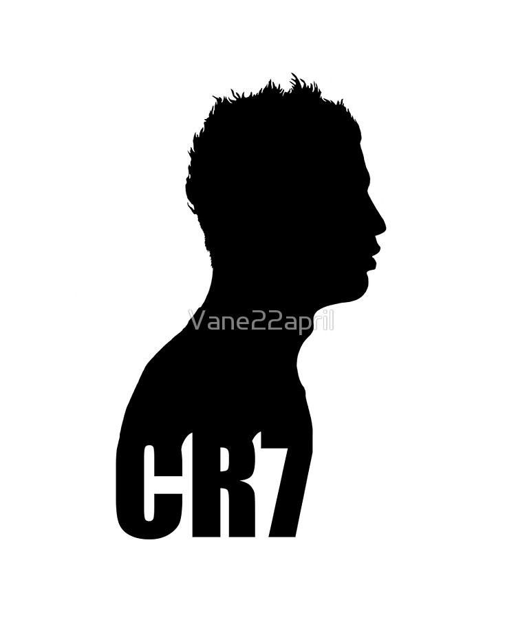 Cristiano Ronaldo CR7 silhouette side (black).
