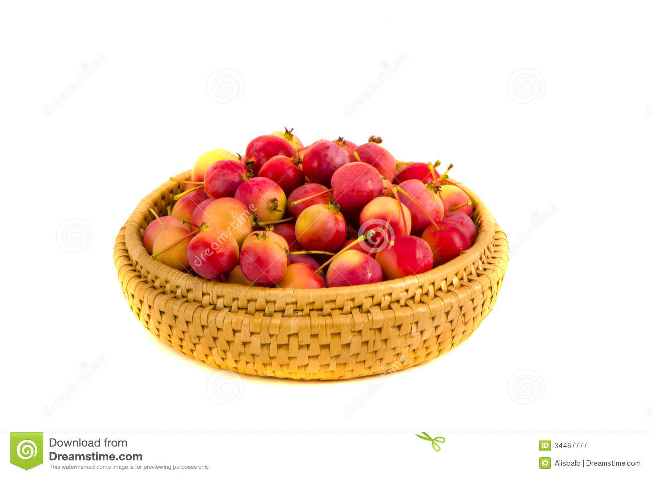 Fresh Crab Apples In Wooden Plate Isolated On White Royalty Free.