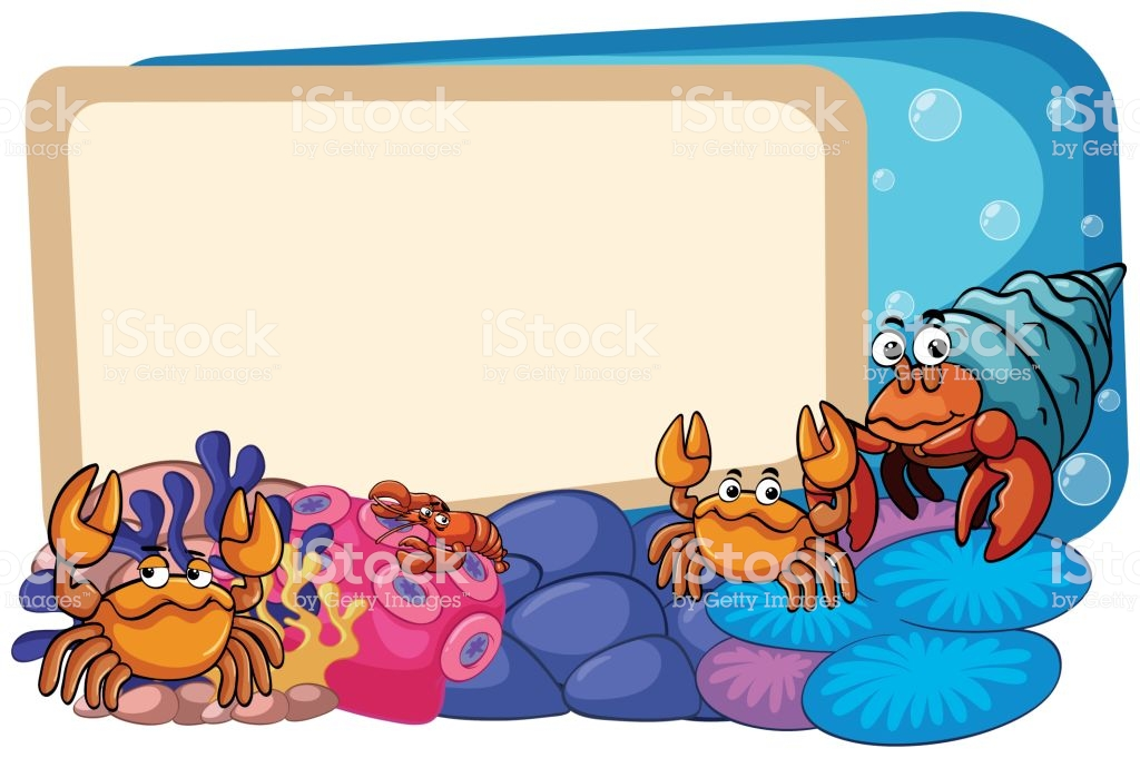 Border Template With Sea Animals Underwater Stock Illustration.