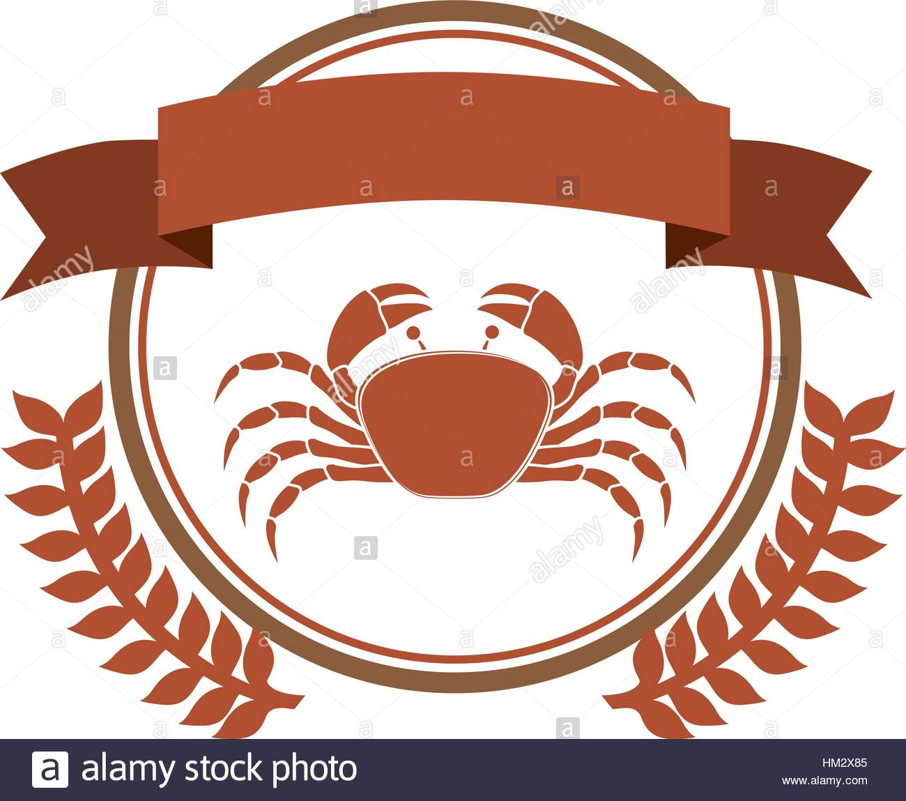 circular border with crown branch with crab and label vector Stock.