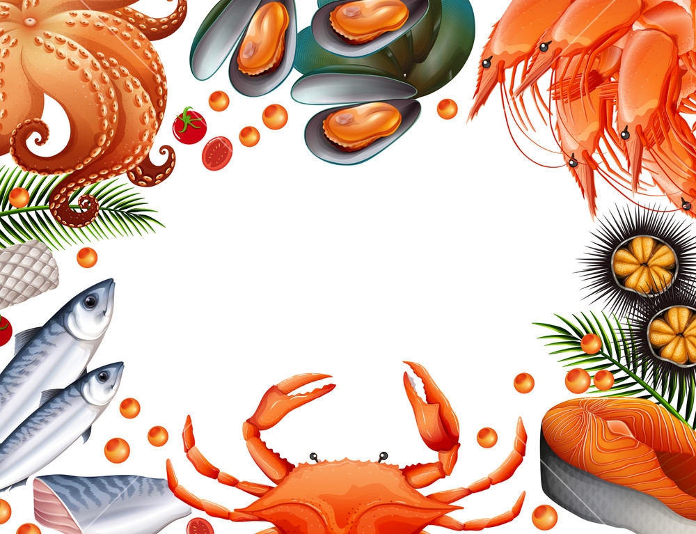 Border template with different kinds of seafood Royalty.