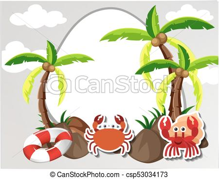 Round border with crabs and coconut trees.