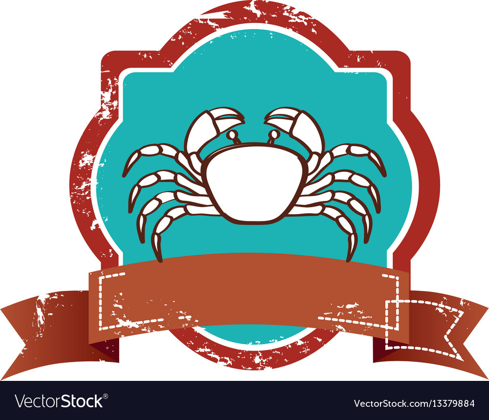 Old heraldic border with crab and label.