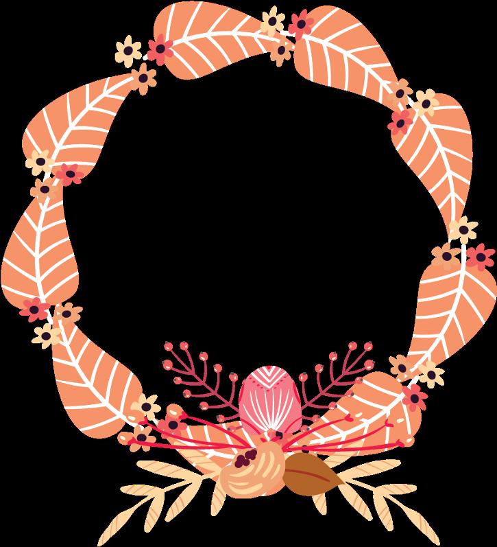 Autumn Fall Leaves Flowers Wreath Frame Border Crab.